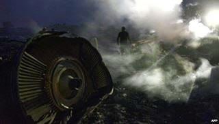Malaysian Passenger Airline MH17 (Boeing 777) shot down over Eastern Ukraine airspace