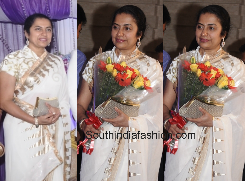 Suhasini In White Saree Hero Raja Wedding Reception South India Fashion