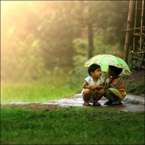 baby friends under umbrella rainy quotes