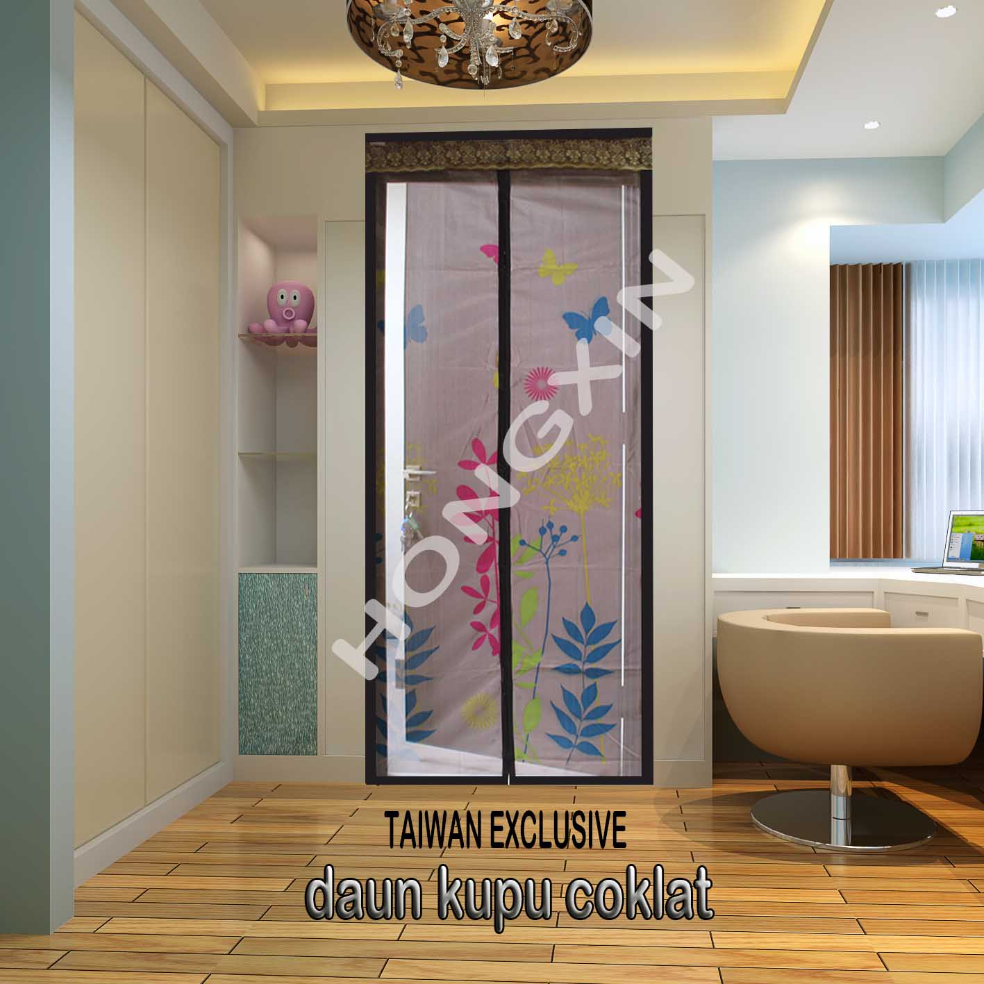 tirai magnet hong xin daun kupu coklat herbal plaza