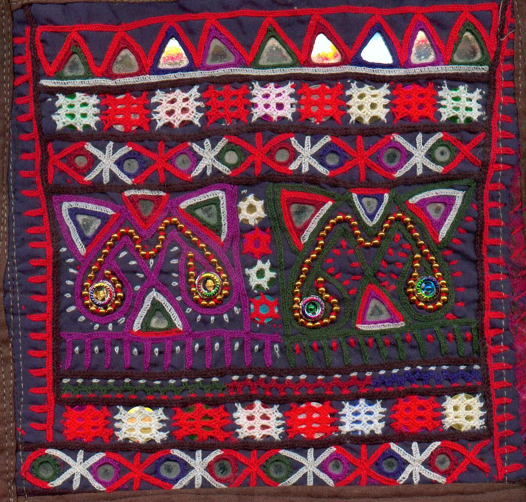 Fixing shisha mirror with kutch embroidery
