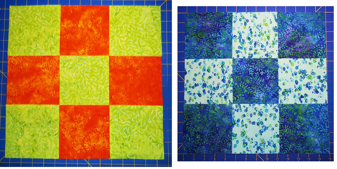 Variation on a disappearing 9-patch block and quilt