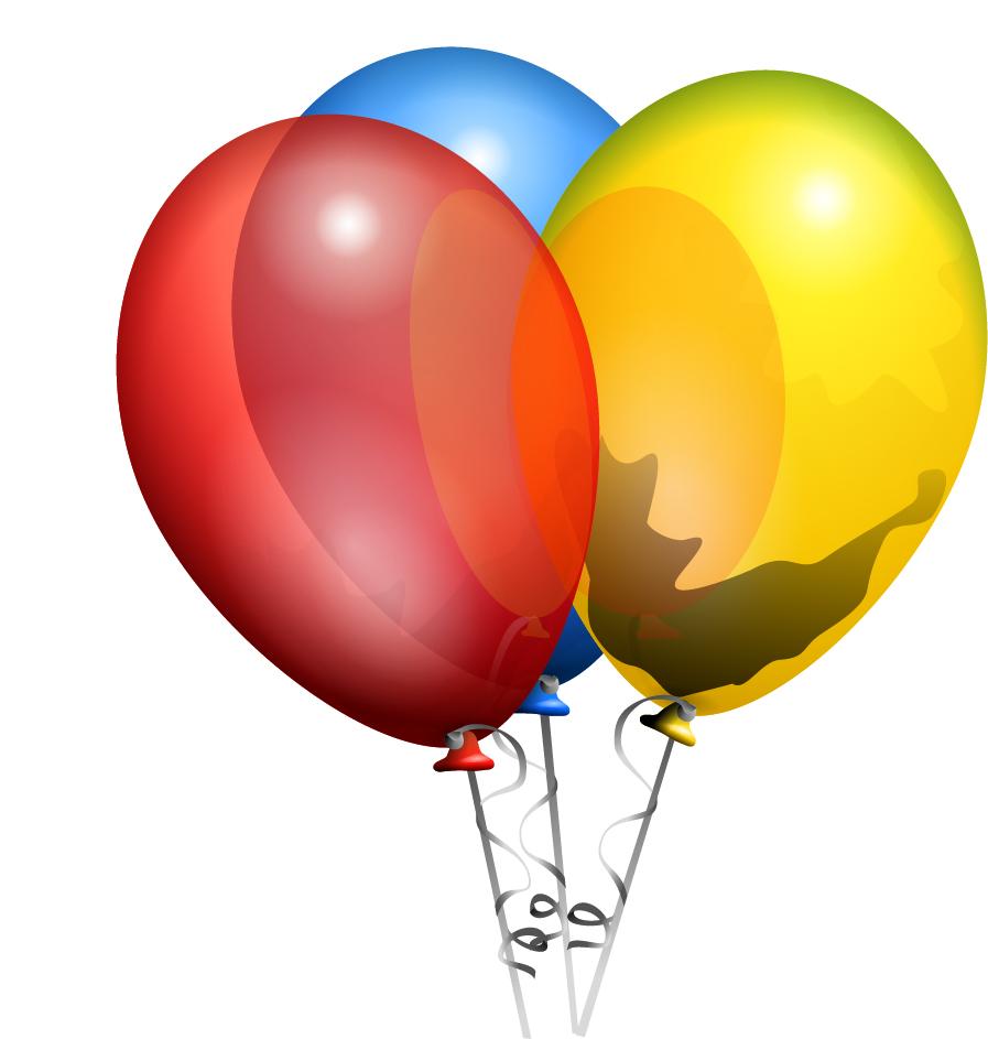 カラフルな原色の風船 Party Helium Balloons clip art イラスト素材