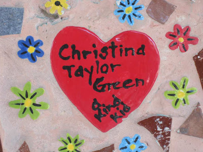 tile commemorating Christina-Taylor Green in mural at Drachman Montessori Magnet School