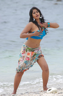 Bindu Madhavi spicy Beach Side smile Pose in Blue Top Spicy Beauty Must See HQ