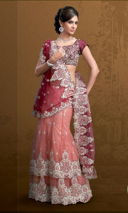 Conventional white red saree collection