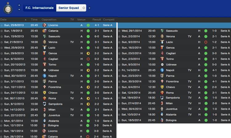 Internazionale Serie A Fixture Results 2013-14