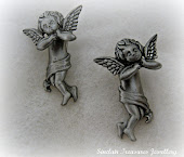 Earrings, Pewter Signed JJ Angel Vintage Jewellery