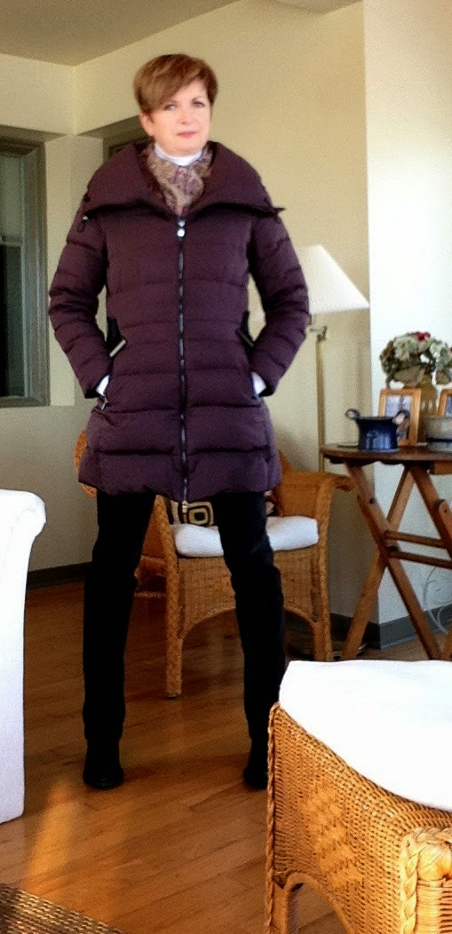 My Zara burgundy down coat.