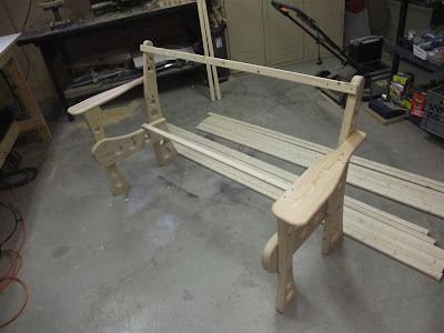 test fit wood bench, slats, rails