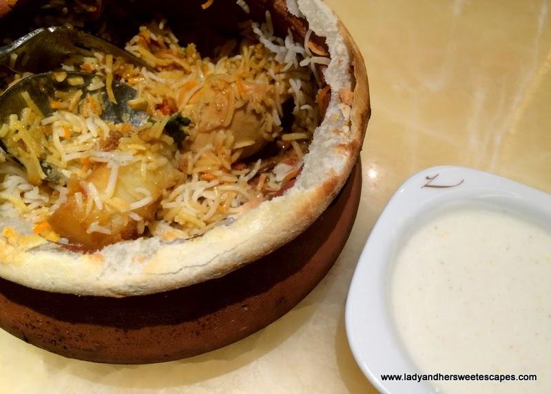 Gazebo's Murgh Zafrani Biryani in a claypot