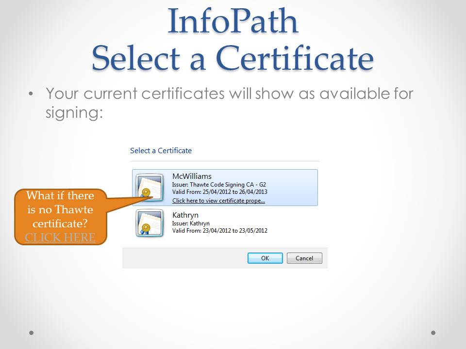 Office 365 Using A Thawte Code Signing Certificate In Infopath