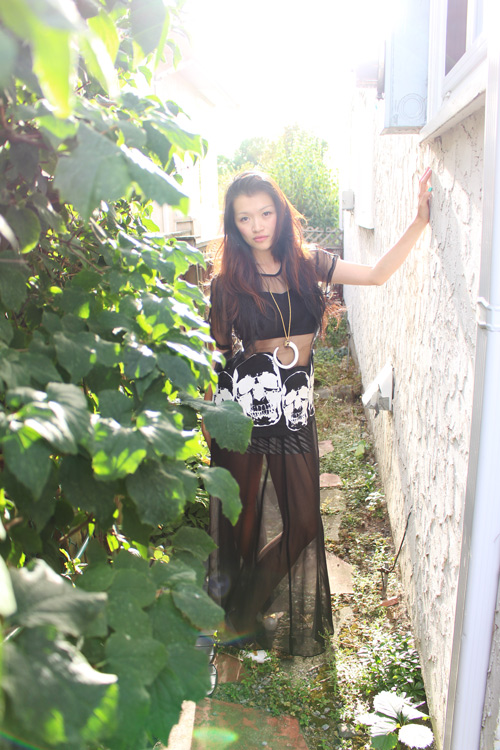 sheer skull shirt, sheer maxi skirt, kenneth J lane horn necklace, vancouver fashion blog