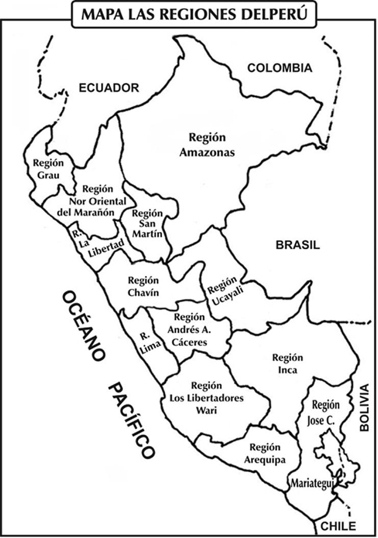 mapa de las regiones del peru para colorear