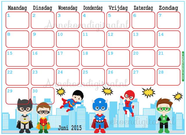 kalender voor kinderen, kalender voor kids, kalender printable, juni kalender, kalender voor vaderdag, aftel kalender, aftelkalender voor kinderen, superhelden, superhelden kalender