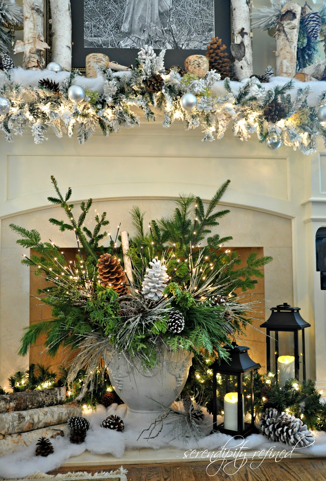 Serendipity refined blog woodland winter mantel and nfl White christmas centerpieces
