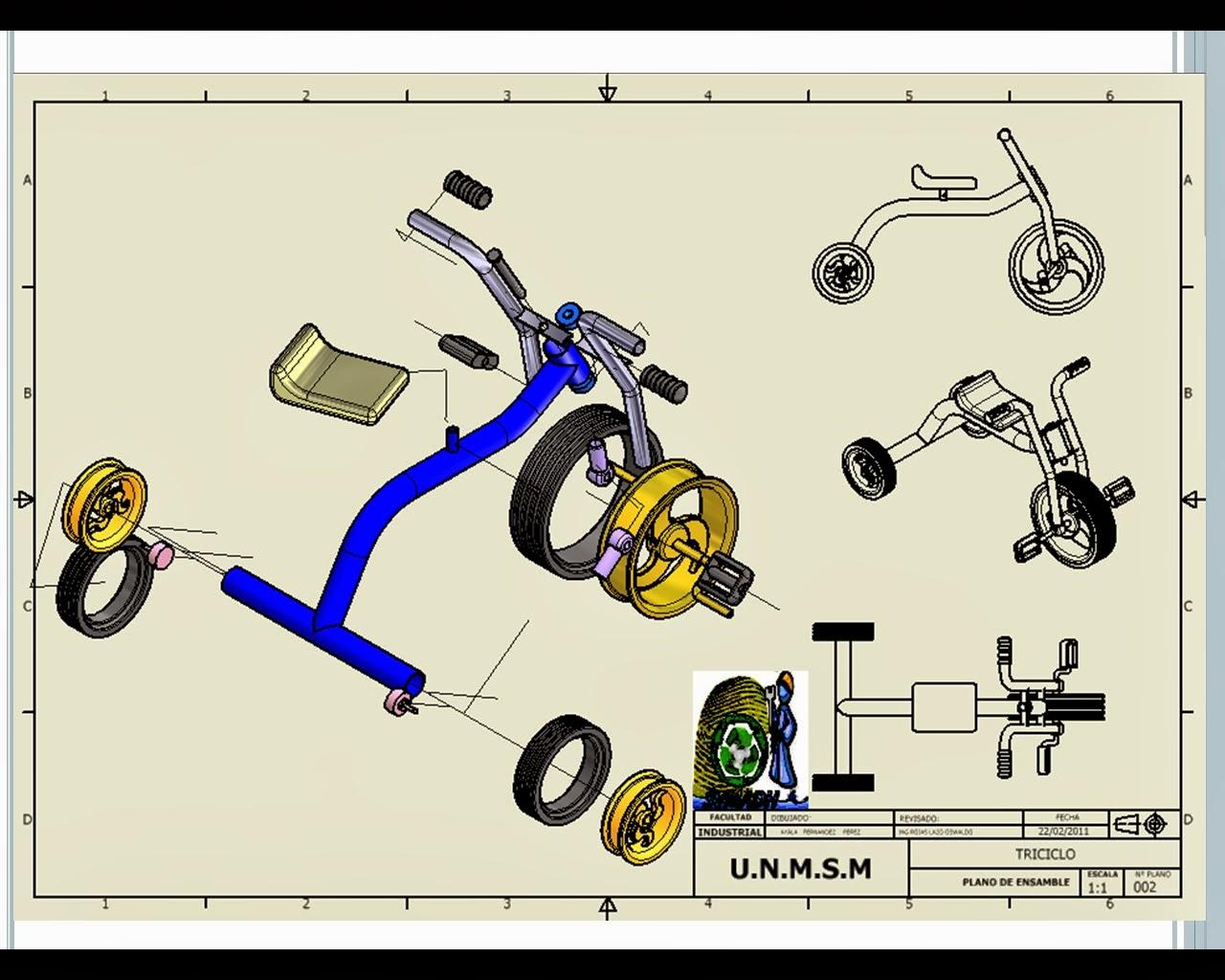 Triciclo infantil piezas esnamble explosi n y planos en for Paginas para crear planos