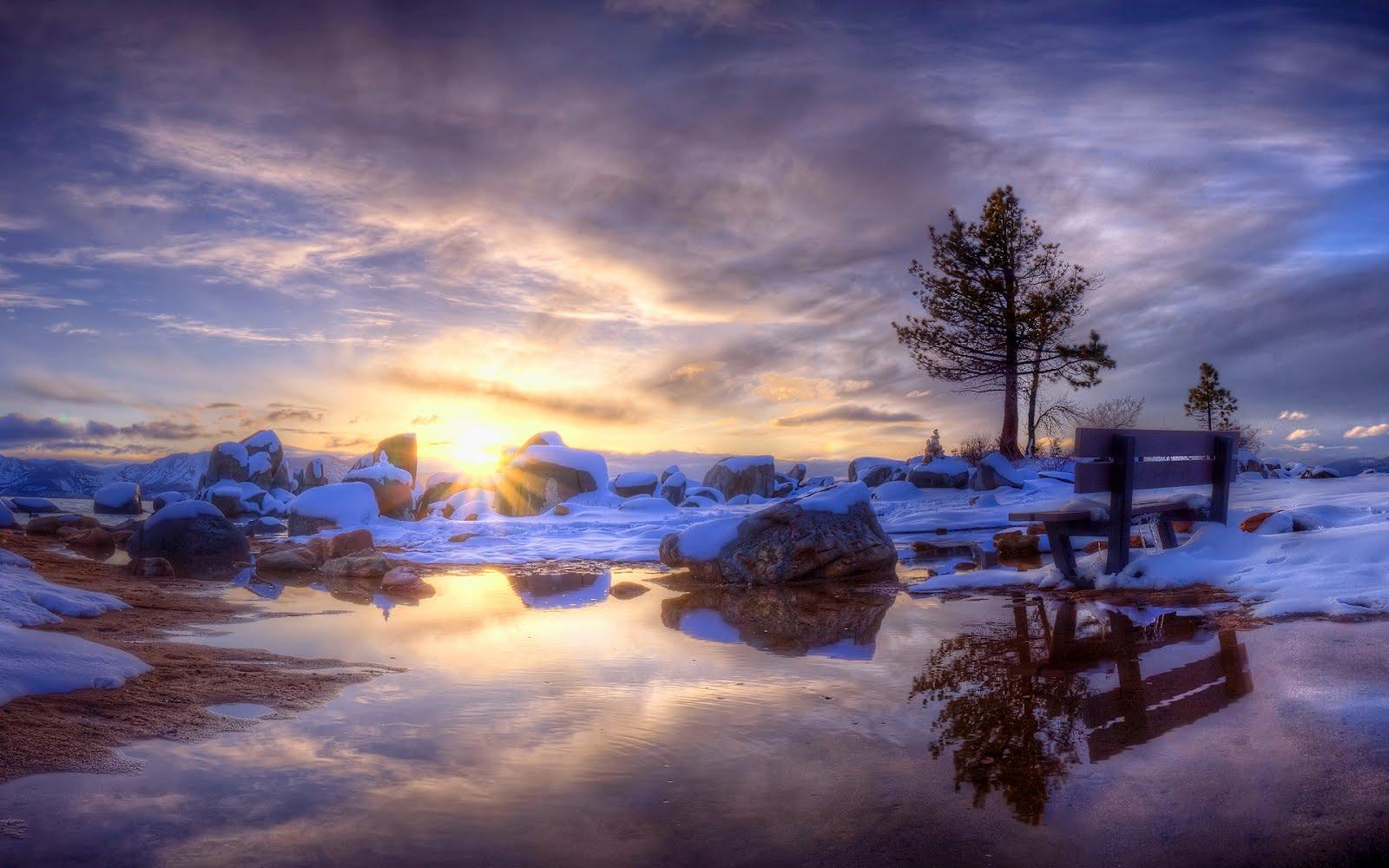 Banco de im genes amanecer en invierno postales de for Desktop gratis inverno