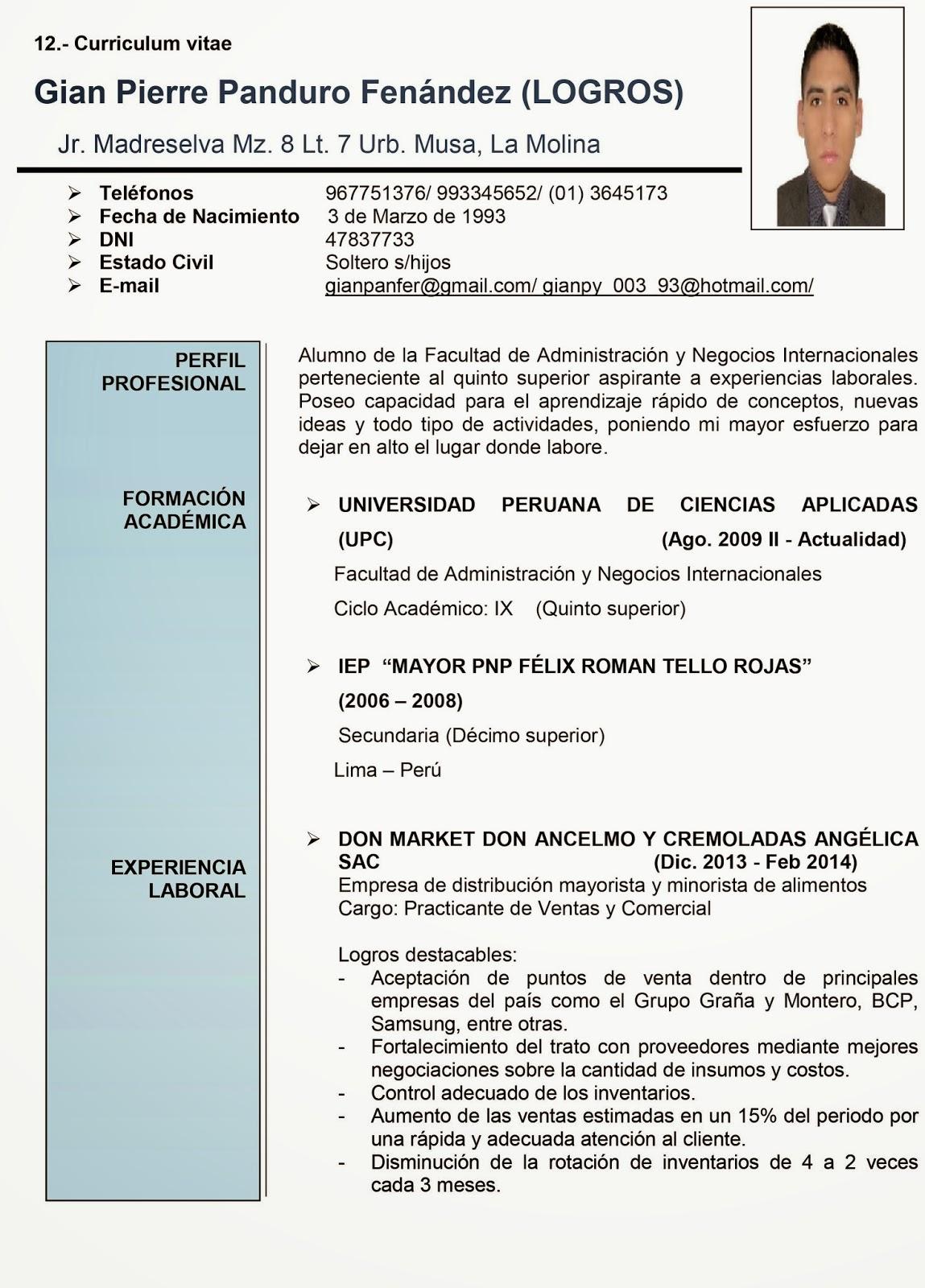Modelo De Curriculum Vitae Upc - Modelo De Curriculum Vitae