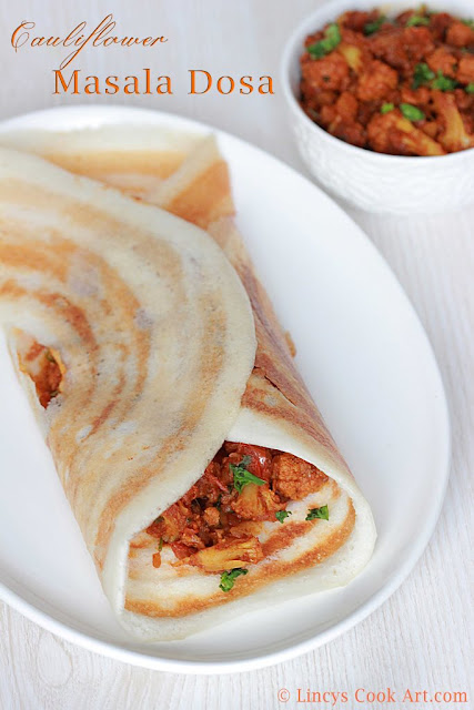 Masala Dosa with Cauliflower Filling
