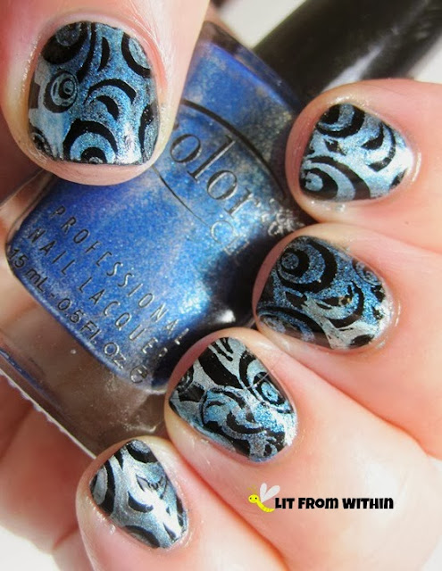 I dotted all the blues onto the stamping plate