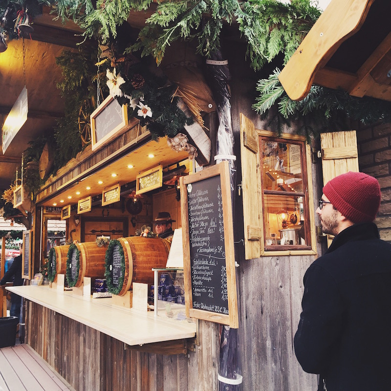 Munich Germany European Christmas Market with Gluhwein or Mulled Wine