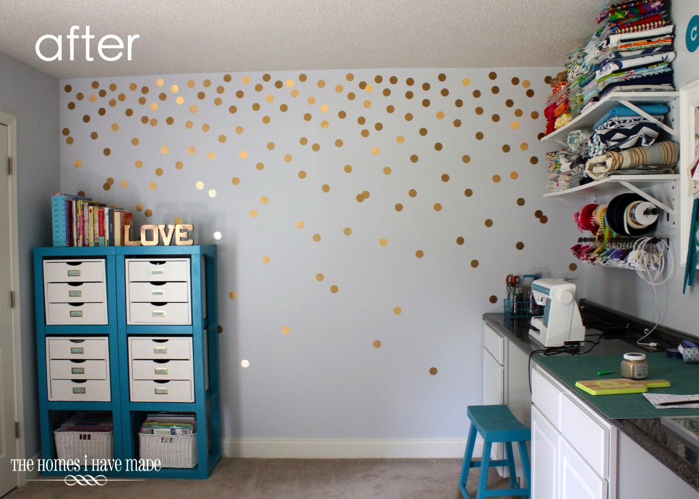Diy gold polka dot wall the homes i have made amipublicfo Images
