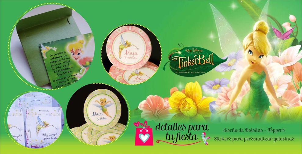 realizamos toppers wrappers stickers tarjetitas de campanita o tinkerbell ms ideas para tu cumple