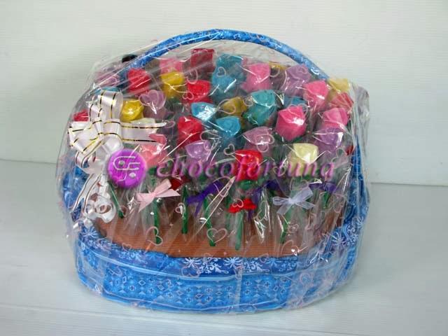 Parcel Cokelat coklat Lolipop Bunga Mawar
