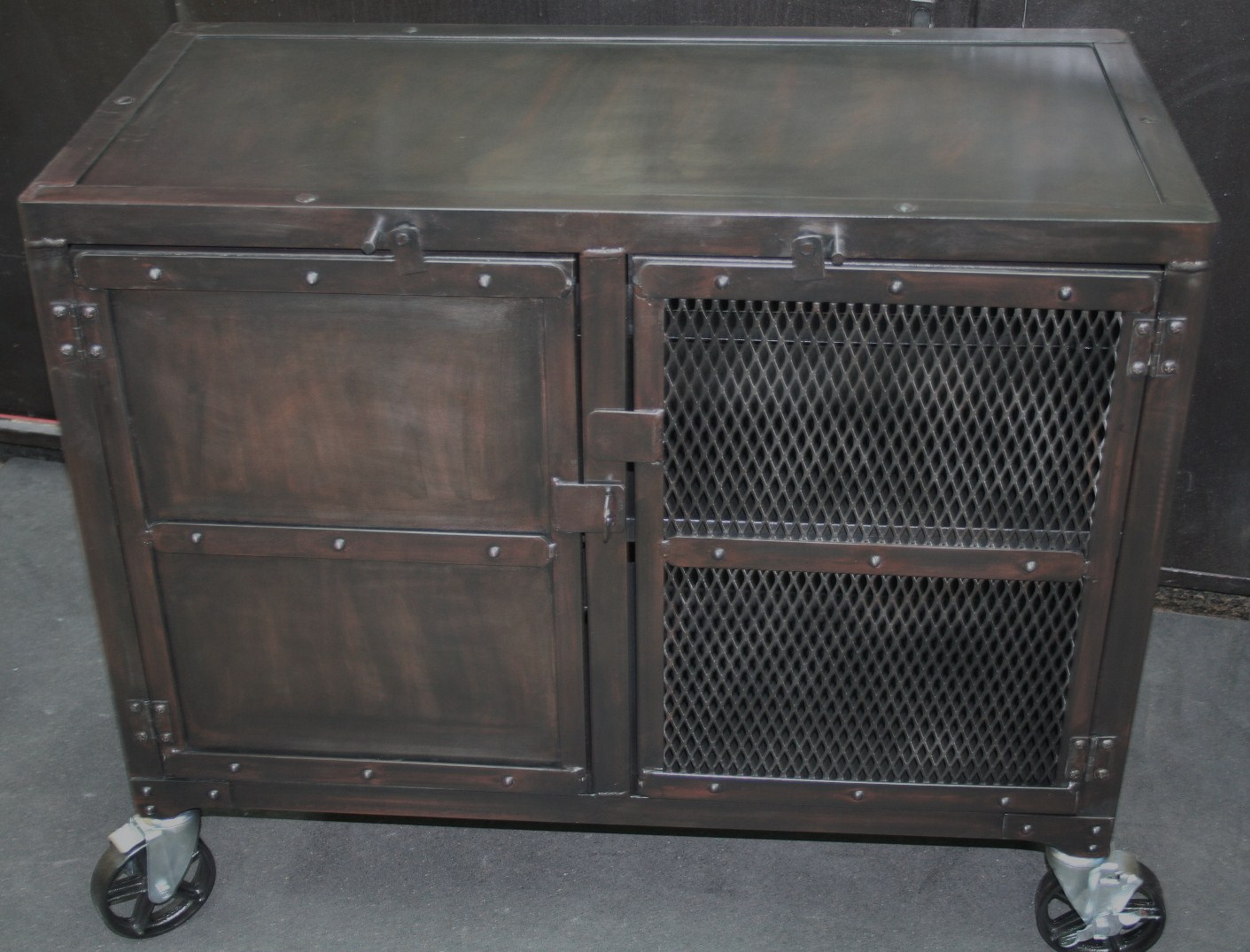industrial media furniture console small industrial media cabinet real industrial edge furniture llc
