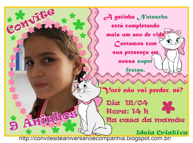 Convite Gatinha Marie para Imprimir Grátis