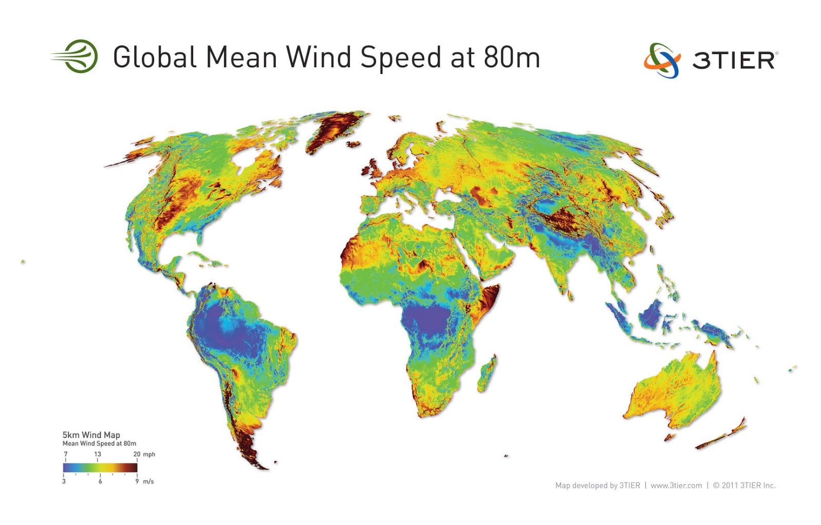 Global average wind speed