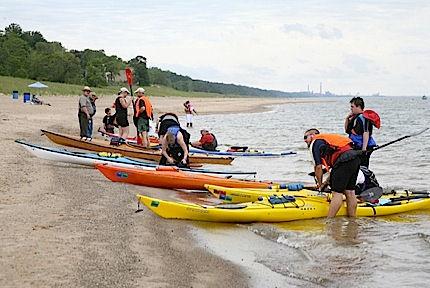 kayaks on Lake Michigan shore