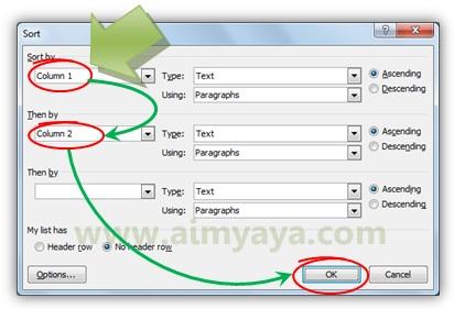 Gambar: Mengurutkan data tabel di microsoft word berdasarkan kolom tertentu