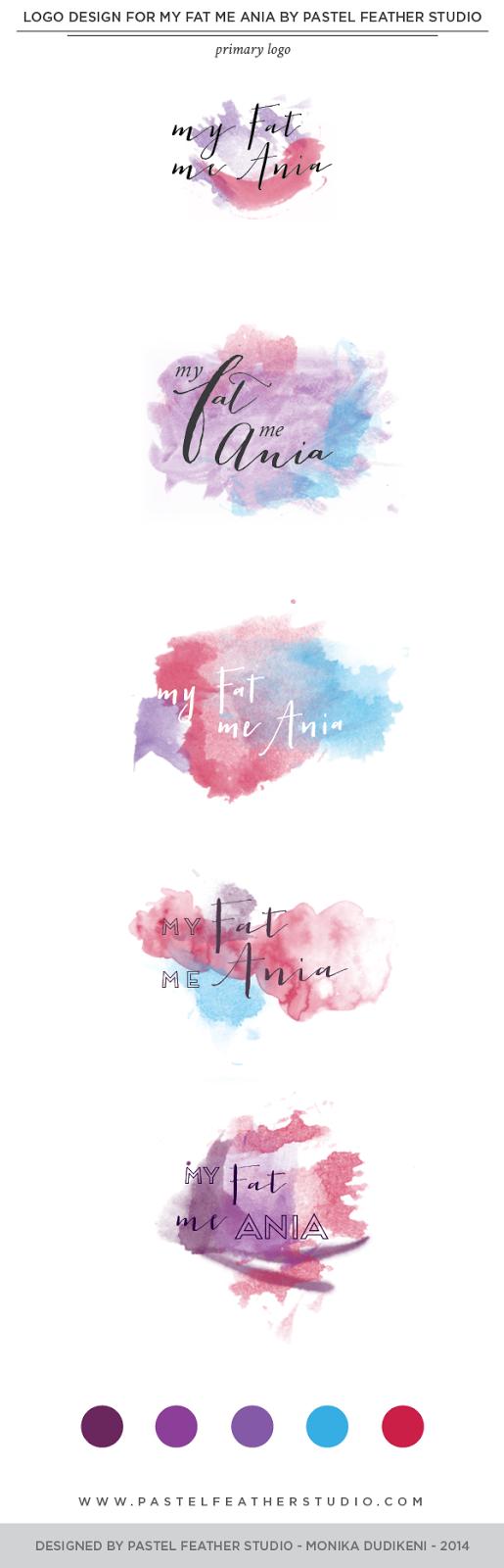 logo design by pastel feather studio logo design watercolor color palette portfolio branding blog makeover