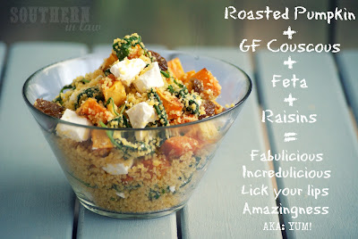 Roasted Pumpkin Couscous Salad - Feta, Raisins, Spinach - Gluten Free, Low Fat, Healthy