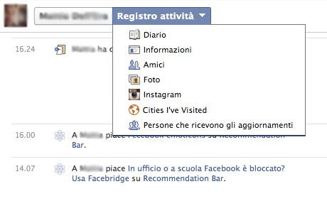 registro attività facebook guida