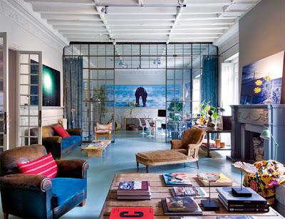 Salón suelo azul