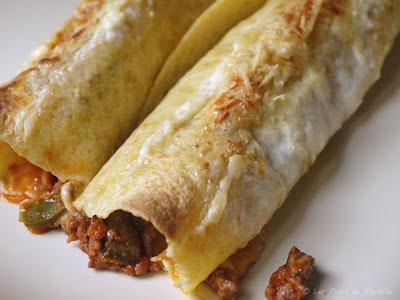 Burritos gratinés au boeuf, bacon et poivron (voir la recette)