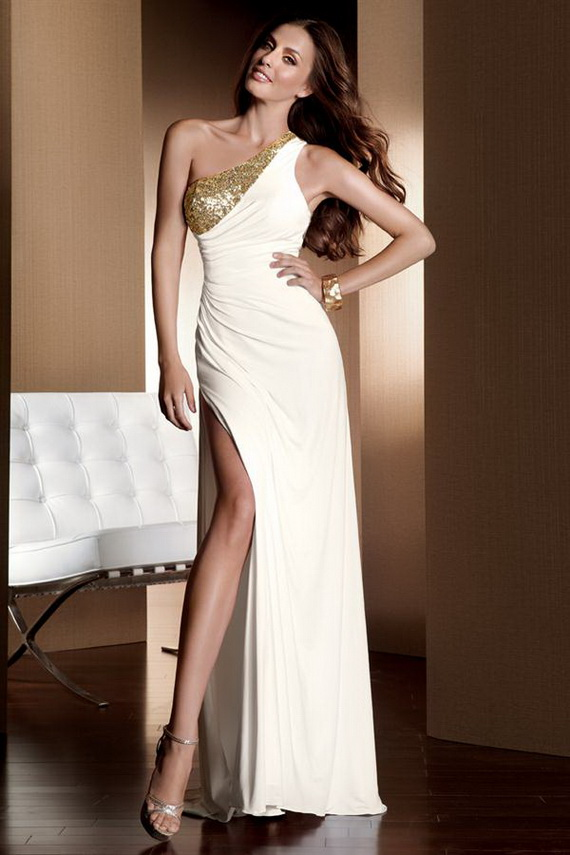 Chiffon One-Shoulder A-line Long Prom Dress