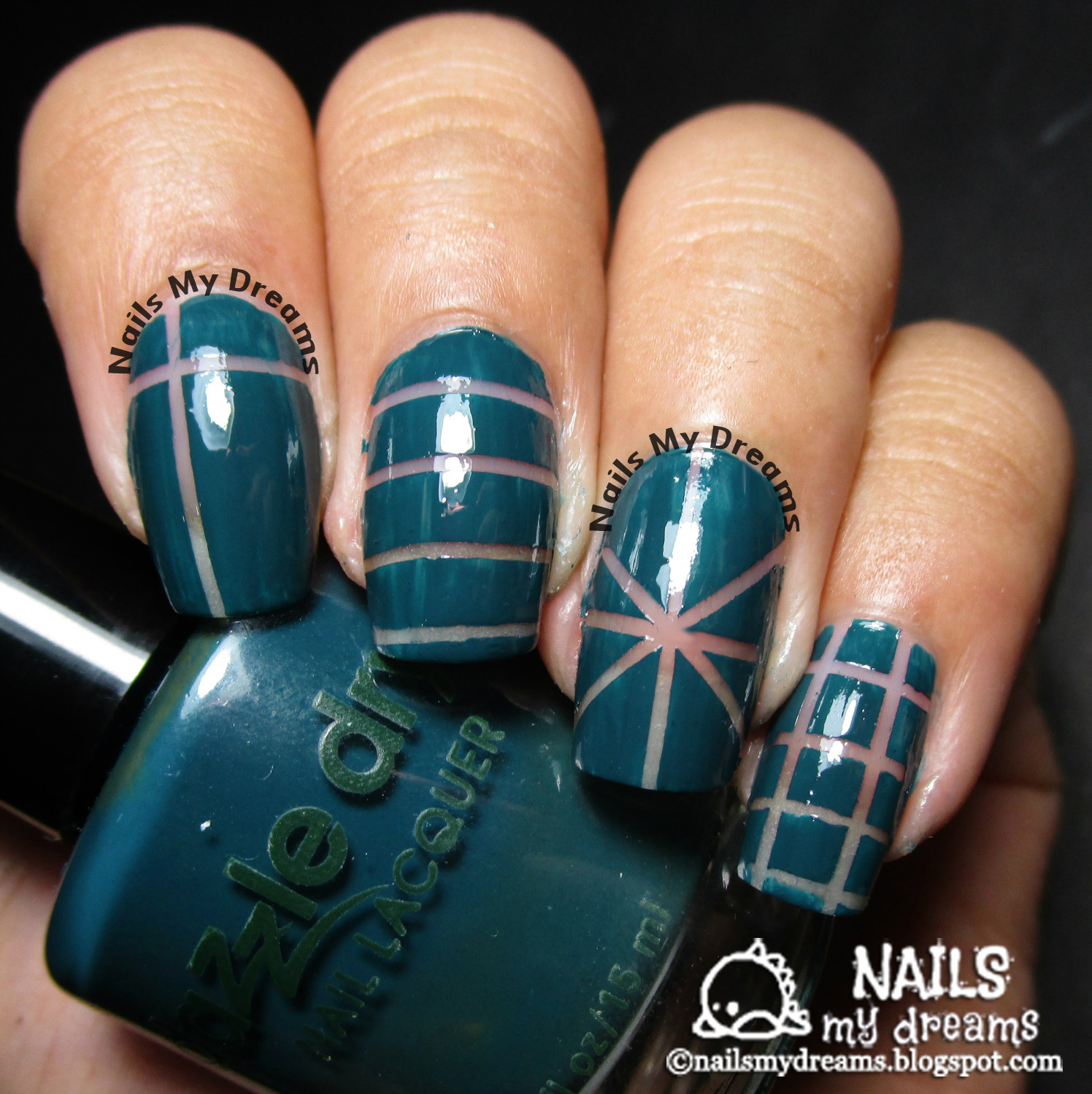 negative space nail art dazzle dry