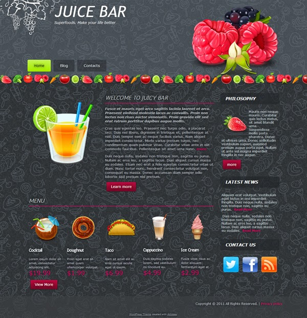 Juice Bar - Free Wordpress Theme