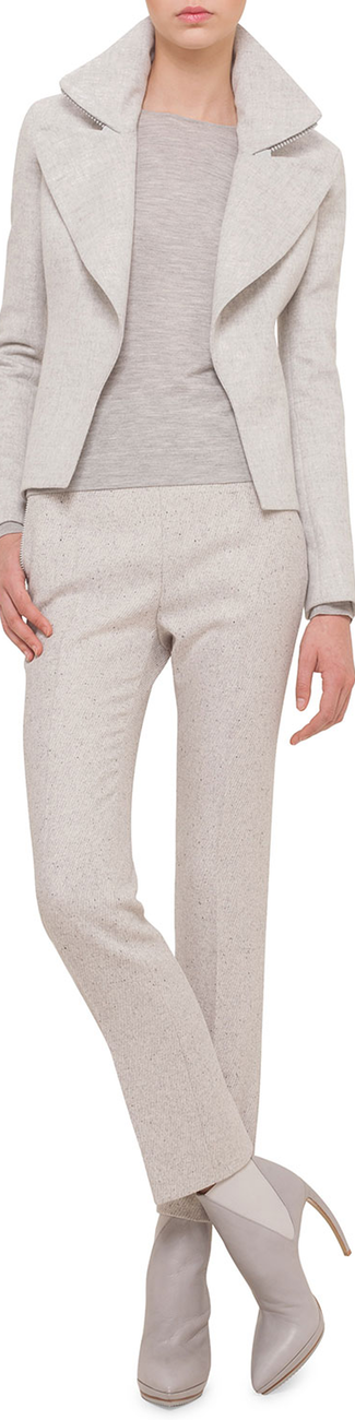Akris Slim-Fit Cashmere Jacket W/Wide-Zip Detail