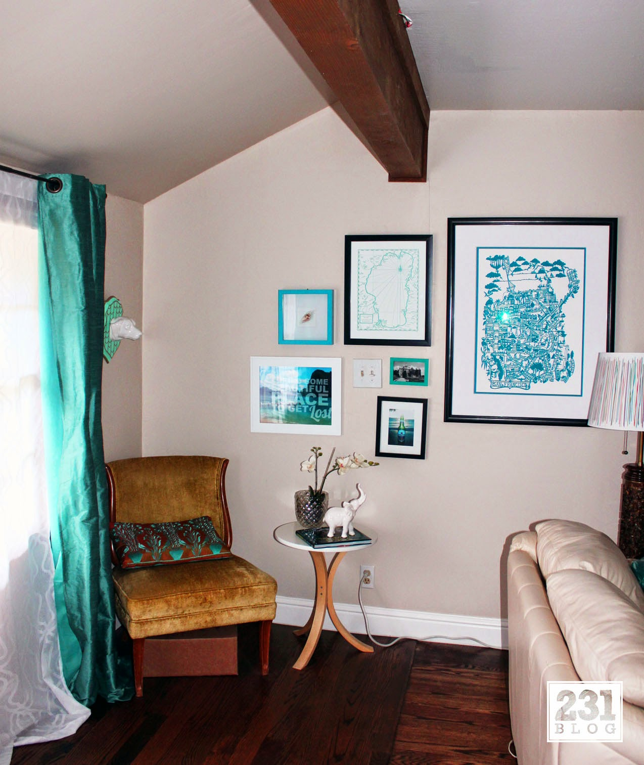 turquoise gallery wall