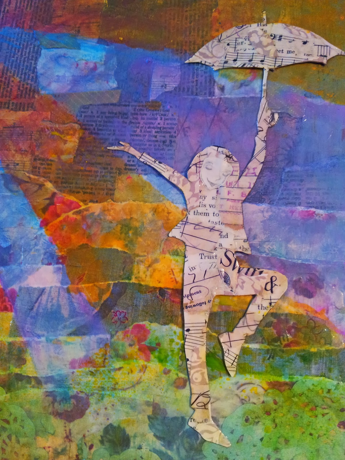 Dapoppins, Dance in the Rain, Praise Him in the Storm, Collage, Mixed Meda