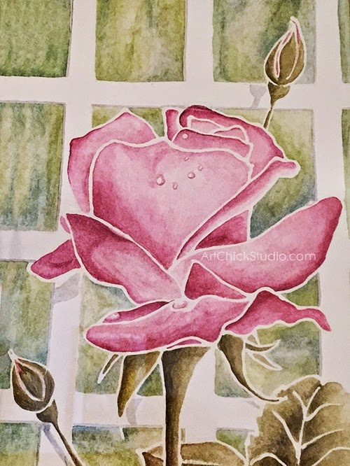 Pink Roses Watercolor Painting