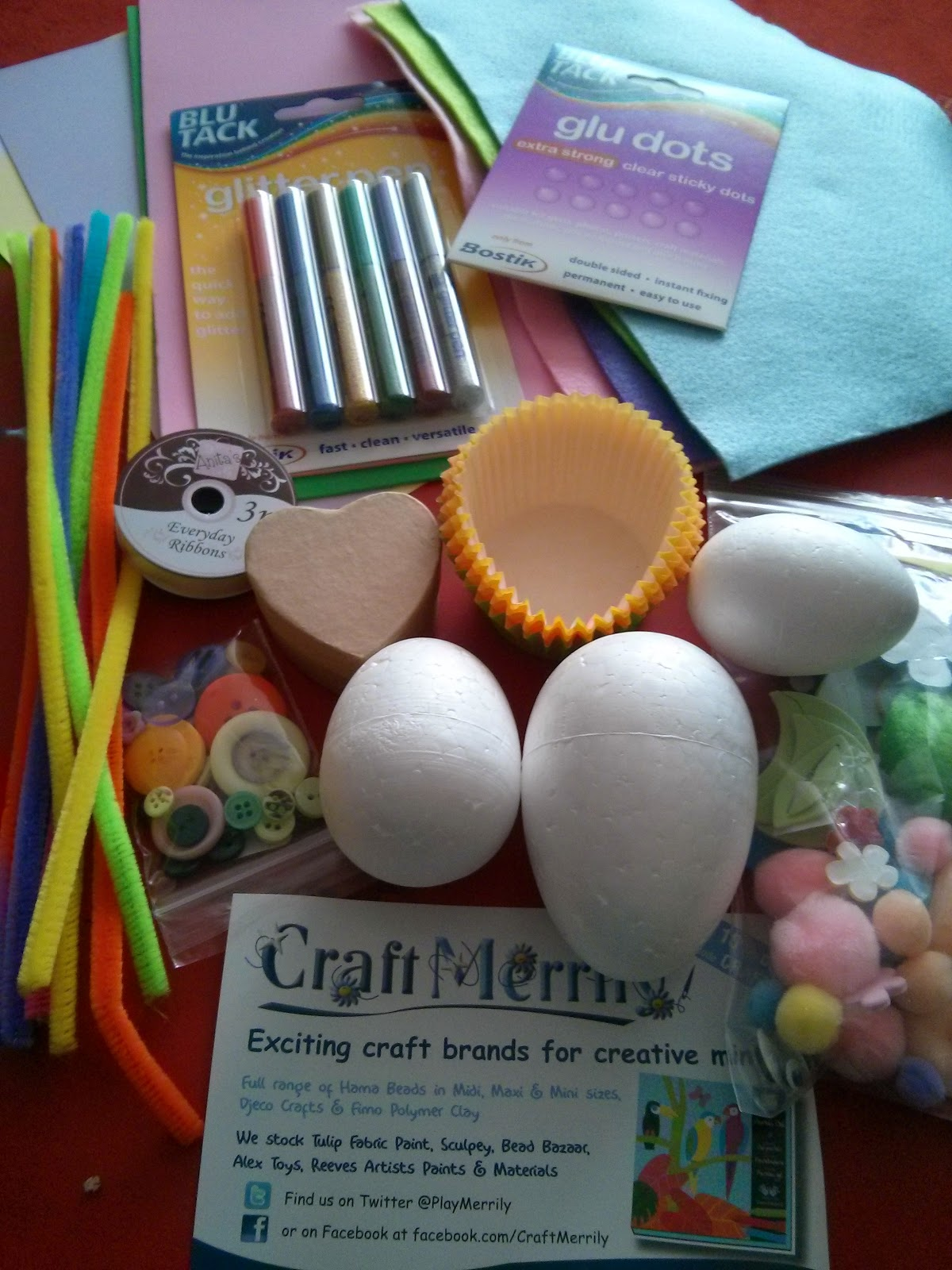 Selection of Craft Materials from Craft Merrily for Bostick Family Craft Network