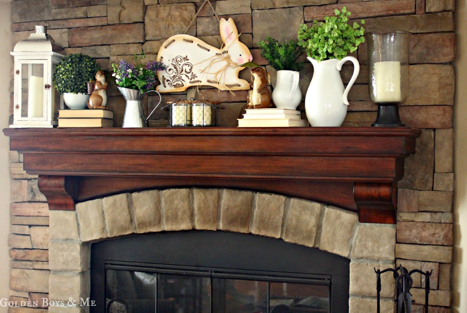 spring mantel with stone fireplace-www.goldenboysandme.com