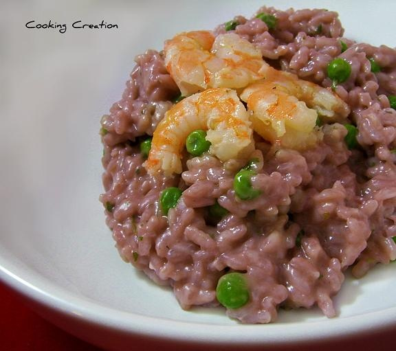 Cooking Creation: Red Wine Risotto with Peas and Shrimp
