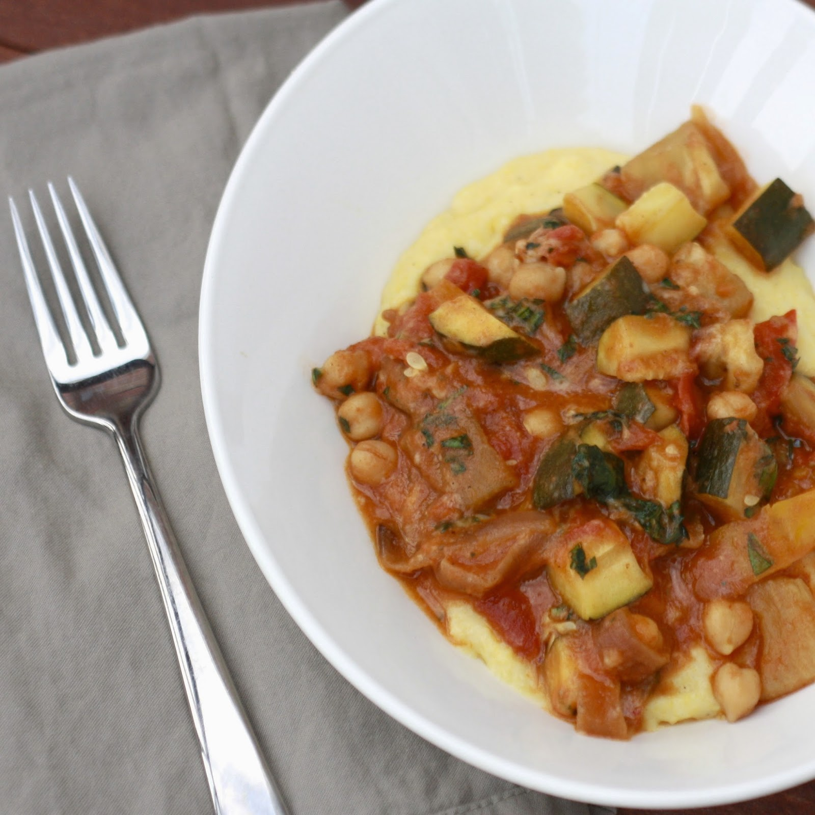 Slow Cooker Ratatouille over Goat Cheese Polenta